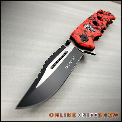 Spring Folding Assisted Blade TACTICAL RED BLOOD ZOMBIE SKULLS CAMO Pocket Knife
