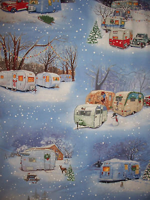 Vintage Trailer Retro Trailers Truck Winter Cotton Fabric Bthy