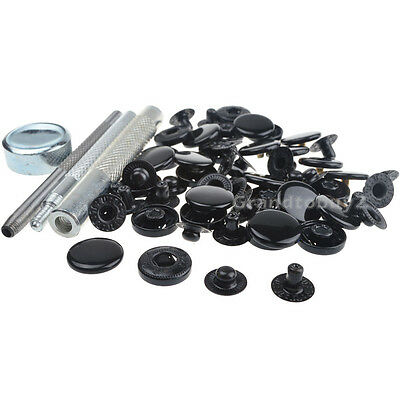 30 Sets 17mm Black Glossy Snaps Fasteners Press Studs Kit Sewing Buttons w/Tools