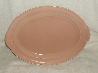 "T.S.& T. LuRay Pastel Pink Oval Serving Platter 13"" by 9 3/4"" with Extra Mark"