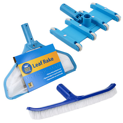 Aussie Gold Cleaning Equipment Package - Leaf Rake Vacuum Head Pool Brush