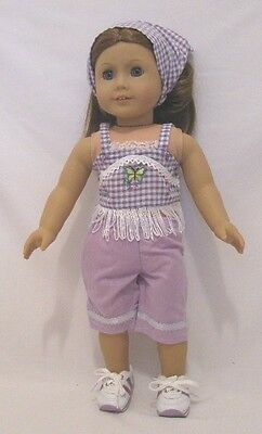 "Doll Clothes 18"" Pants Capri Lavender Gingham Fits American Girl Dolls"