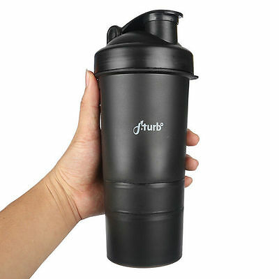 fiTurbo *3 in 1* Gym Protein Shaker Bottle Mixer Mixing Blender Cup 400ml Black
