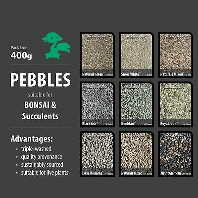 PEBBLES (400g) - Suitable for Pots, Bonsai, Terrarium & Succulents. Large range.