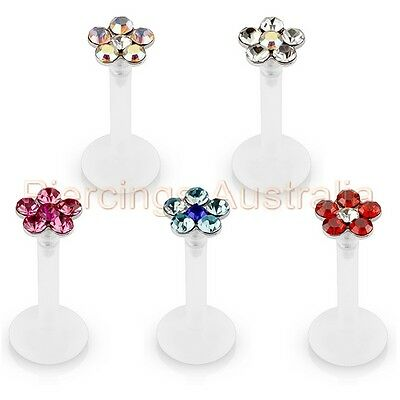 16G Flower CZ Push In Top Bioflex Labret Lip Bar Ring Monroe Piercing Jewellery