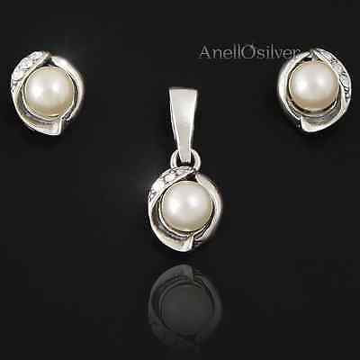 Sterling Silver 925 Set with Pearl Earrings & Pendant Giftbox