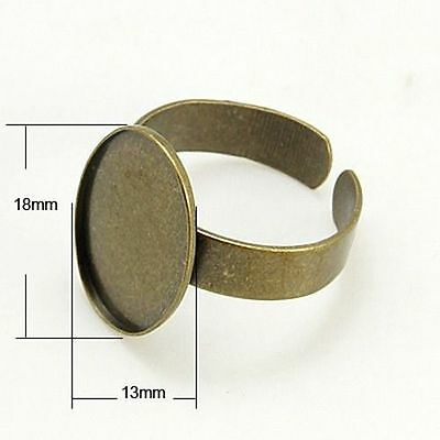 10x Antique Bronze Adjustable Ring Pad Base Findings Oval Tray Fit For Cabochons