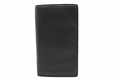 Fossil Long Checkbook Bifold Wallet LUFKIN EXECUTIVE Leather Black Brown Tan