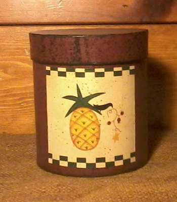 "PRIMITIVE Round PINEAPPLE BOX 4 1/2"" X 5"" Stacking Nesting Country Rustic"