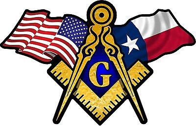 "1 - 3"" x 5"" American & Texas Flags Masonic Compass Square Decal Sticker 078"