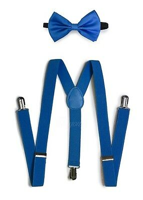 Blue Suspender and Bow Tie Set for Adults Men Women Teenagers (USA Seller)