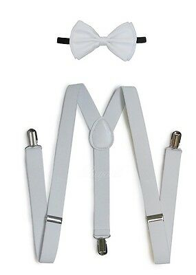 White Suspender and Bow Tie Set for Adults Men Women Teenagers (USA Seller)