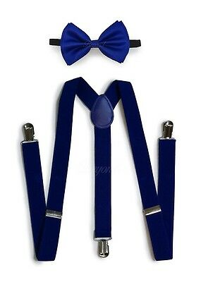 Royal Blue Suspender and Bow Tie Set for Adults Men Women Teenagers (USA Seller)