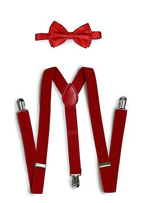 Red Suspender and Bow Tie Set for Adults Men Women Teenagers (USA Seller)