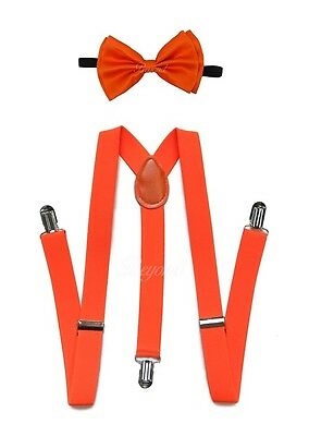 Orange Suspender and Bow Tie for Adults Teenagers Women Men (USA Seller)