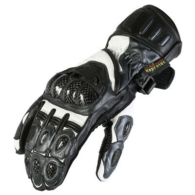 Mens New Grey Cowhide Leather Motorcycle / Motorbike Protective Racing Gloves