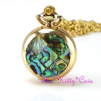 Miniature Gold Pl Abalone Mosaic Pocket Half Hunter Steampunk Necklace Fob Watch
