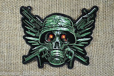 Zombie Gas Mask Skull with Crossed Guns Patch