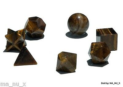 Tiger Eye Sacred Geometry 7 Set with Merkaba Star - Free & Fast Shipping