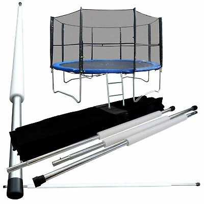 8FT 6 Poles Replacement Trampoline Safety Net Surround Set with Poles & Fixings