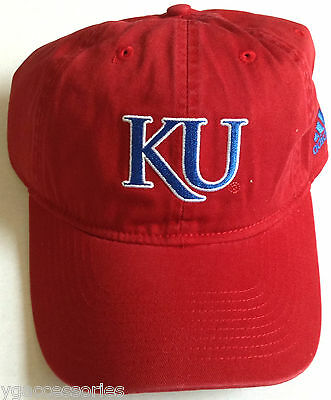 superior quality 6d50a c873a NCAA Kansas Jayhawks KU Football Adidas Official Team Buckle Back Cap Hat  NEW!