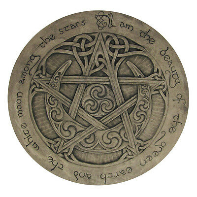 Large Moon Pentacle Plaque - Stone Finish - Dryad Designs Pagan Wicca Pentagram