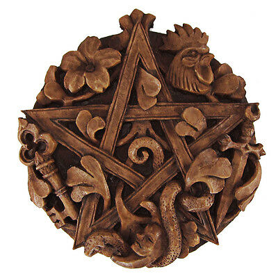 Cimaruta Pentacle Plaque - Wood Finish - Dryad Design - Pagan Wiccan Wicca