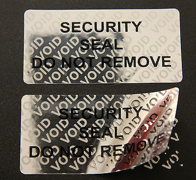 Tamper Evident Security Seals Do Not Remove Labels on Bright Silver 20mm x 40mm