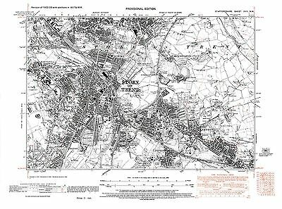 Old Map of Stoke upon Trent, Staffordshire in 1938- Repro 18 N W