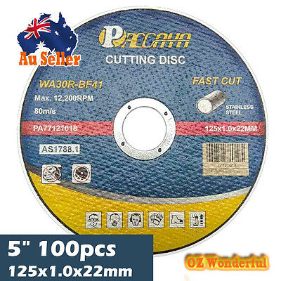 "100x Paccaya 5"" 125mm INOX STAINLESS STEEL METAL GRINDER CUTTING DISC BLADE DISC"