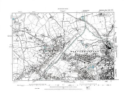 Old Map of Wolverhampton ( NW ), Tettenhall, Staffordshire in 1886- Repro 62 NW