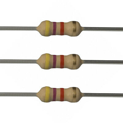 100 x 4.7k Ohm Carbon Film Resistors - 1/2 Watt - 5% - 4K7 - Fast USA Shipping