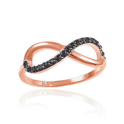 Infinity 10k Rose Gold Ring Half Stud with Black Diamond Round 0.16ctw.