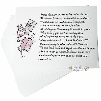 New 50 x Wedding Wishing Well Envelopes for Invitations
