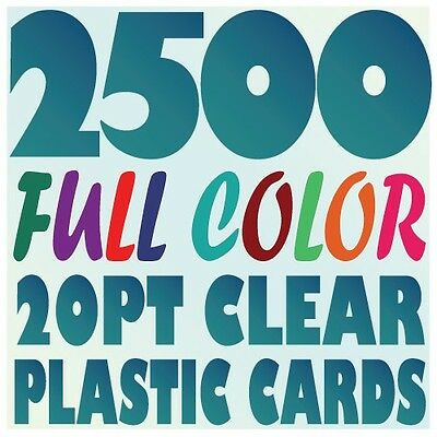 2500 Full Color Custom 20pt CLEAR PLASTIC BUSINESS CARD Printing w Round Corners