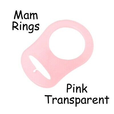 25 MAM Ring Button Style Dummy Pacifier Clip Adapter - Pink Transparent Silicone