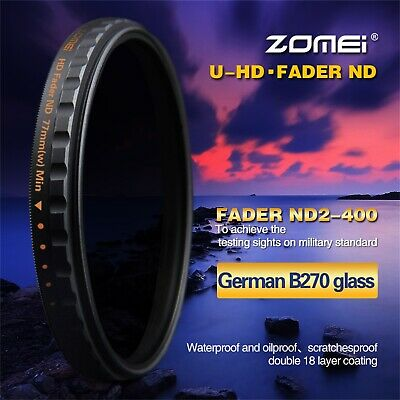 Zomei 77mm Slim HD ND2-400 Neutral Density Fader Variable ND Filter For Camera