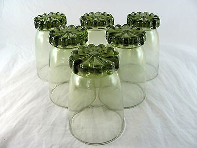 6 Libbey Sonnet Olive Green Glass Tumblers