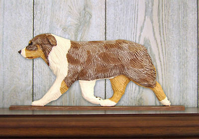 Australian Shepherd Dog Figurine Sign Plaque Display Wall Decoration Red Merle