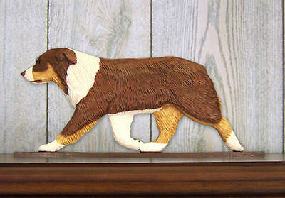 Australian Shepherd Dog Figurine Sign Plaque Display Wall Decoration Red Tri