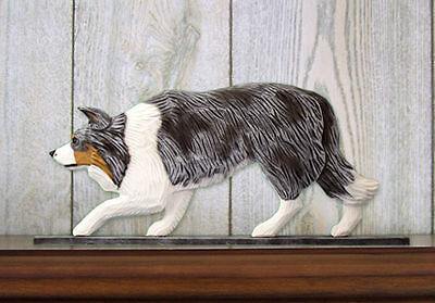 Border Collie Sign Plaque Wall Decor Blue Merle