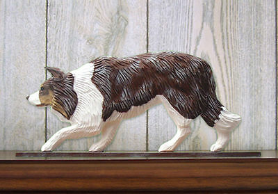 Border Collie Dog Figurine Sign Plaque Display Wall Decoration Red Merle