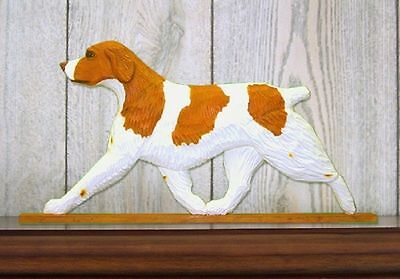 Brittany Spaniel Dog Figurine Sign Plaque Display Wall Decoration Orange
