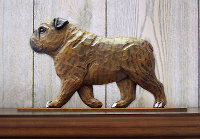 English Bulldog Figurine Sign Plaque Display Wall Decoration Brindle