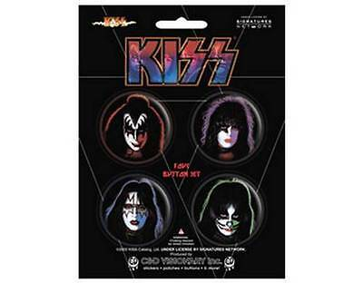 KISS - Heads - Simmons Stanley - Official Collectors Button Badge Pack Set