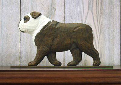 English Bulldog Figurine Sign Plaque Display Wall Decoration Brindle/White