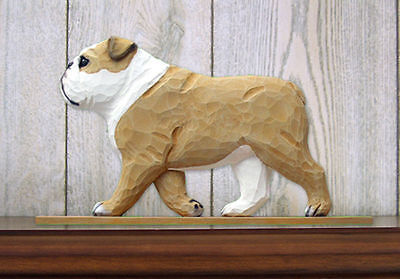 English Bulldog Figurine Sign Plaque Display Wall Decoration Tan