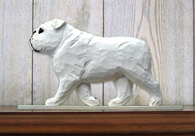 English Bulldog Figurine Sign Plaque Display Wall Decoration White