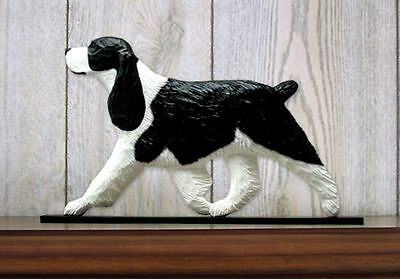 English Springer Spaniel Dog Figurine Sign Plaque Display Wall Decoration Black
