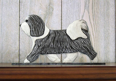 Havanese Dog Figurine Sign Plaque Display Wall Decoration Grey/White